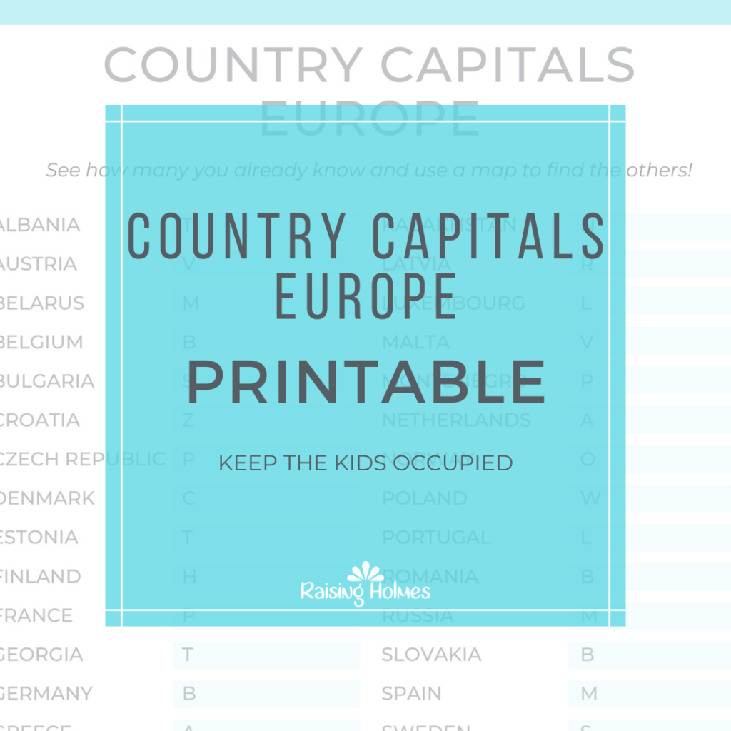 Country Capitals Europe Free Printable